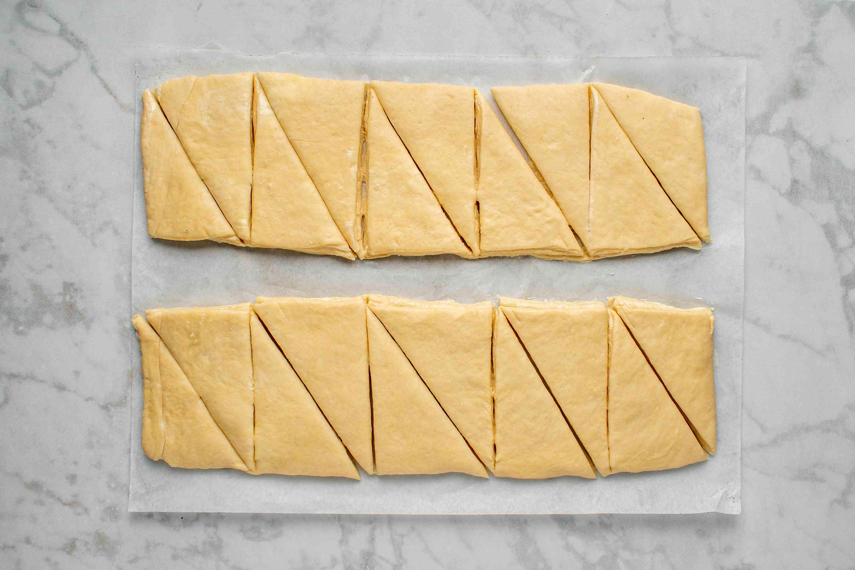 dough cut into triangles