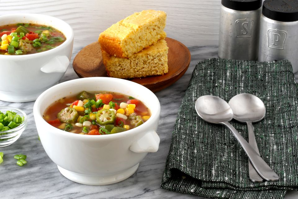 Okra and tomato soup with corn.
