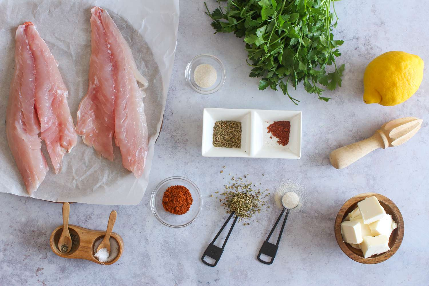 Ingredients for blackened red snapper