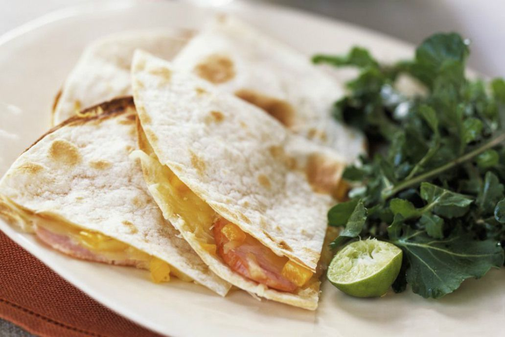 Baked ham and cheese quesadillas