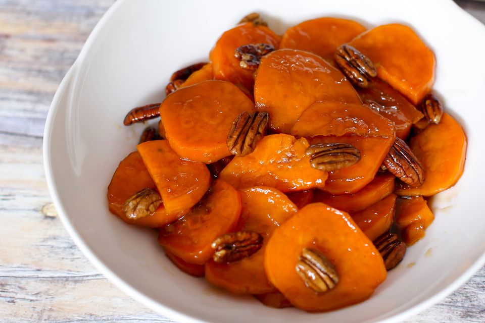 glazed sweet potatoes and pecans in serving bowl