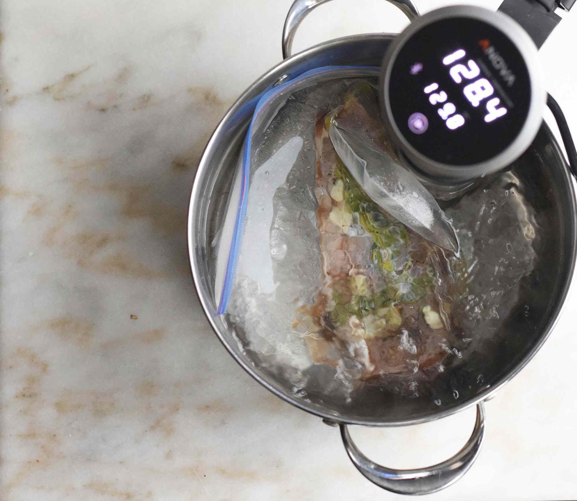 Steak in a sous vide machine