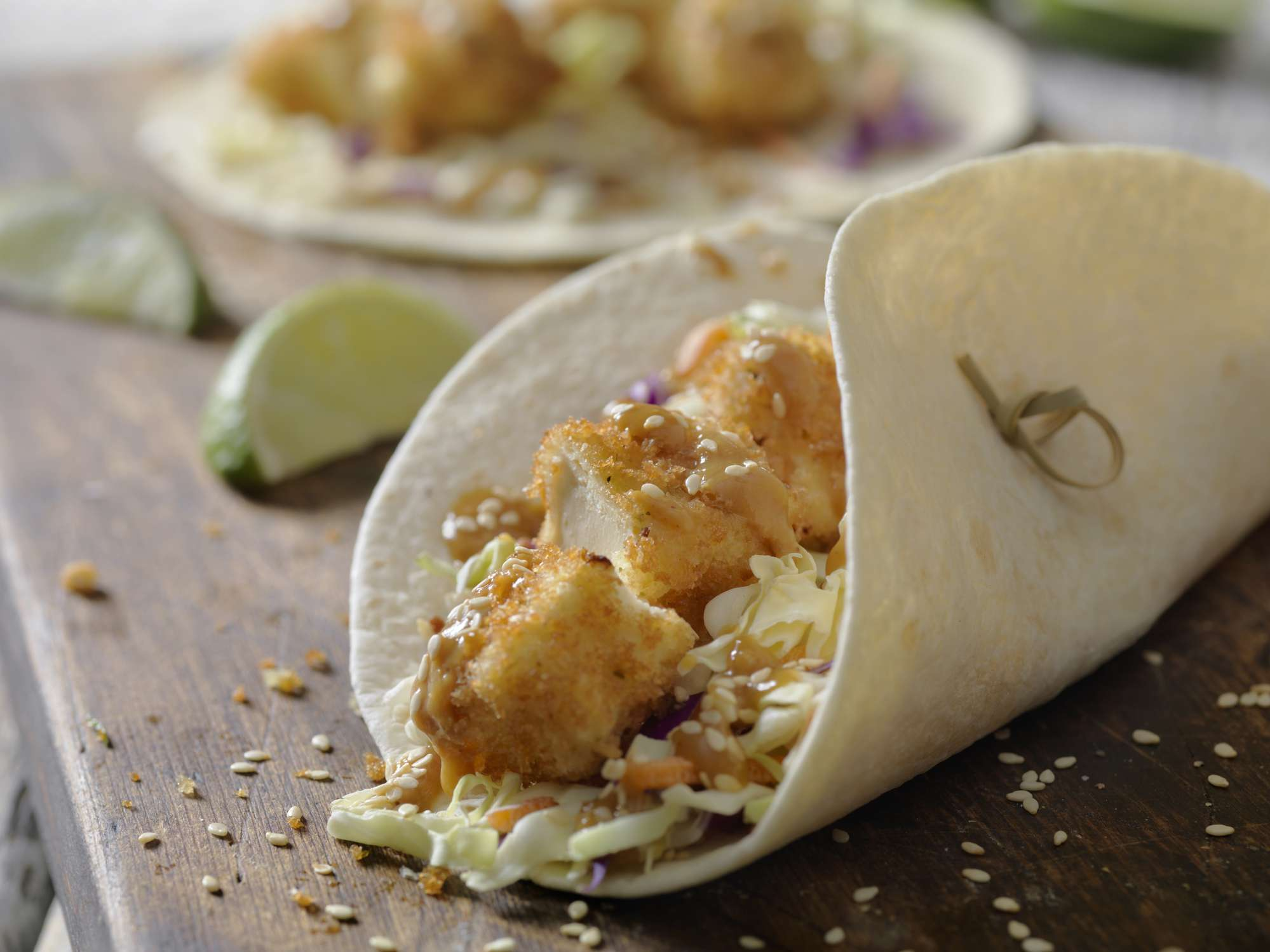 Tofu breaded tacos with coleslaw