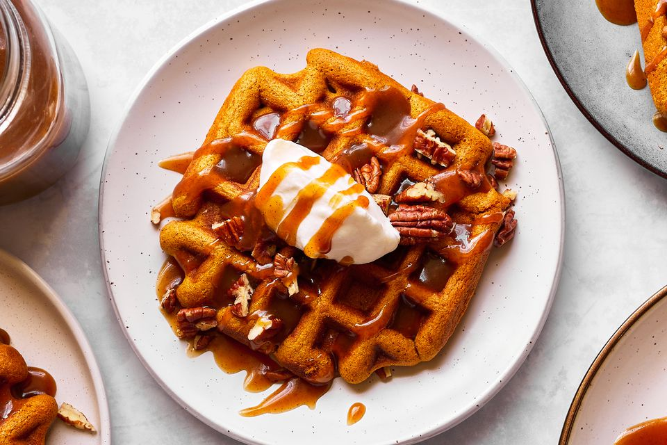 Pumpkin Spiced Waffles With Cinnamon Caramel Syrup