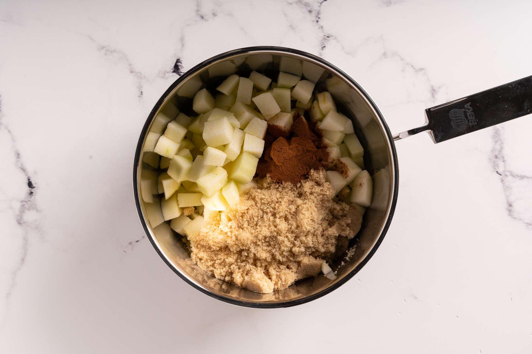 Copycat McDonald's Apple Pie filling ingredients in a pot