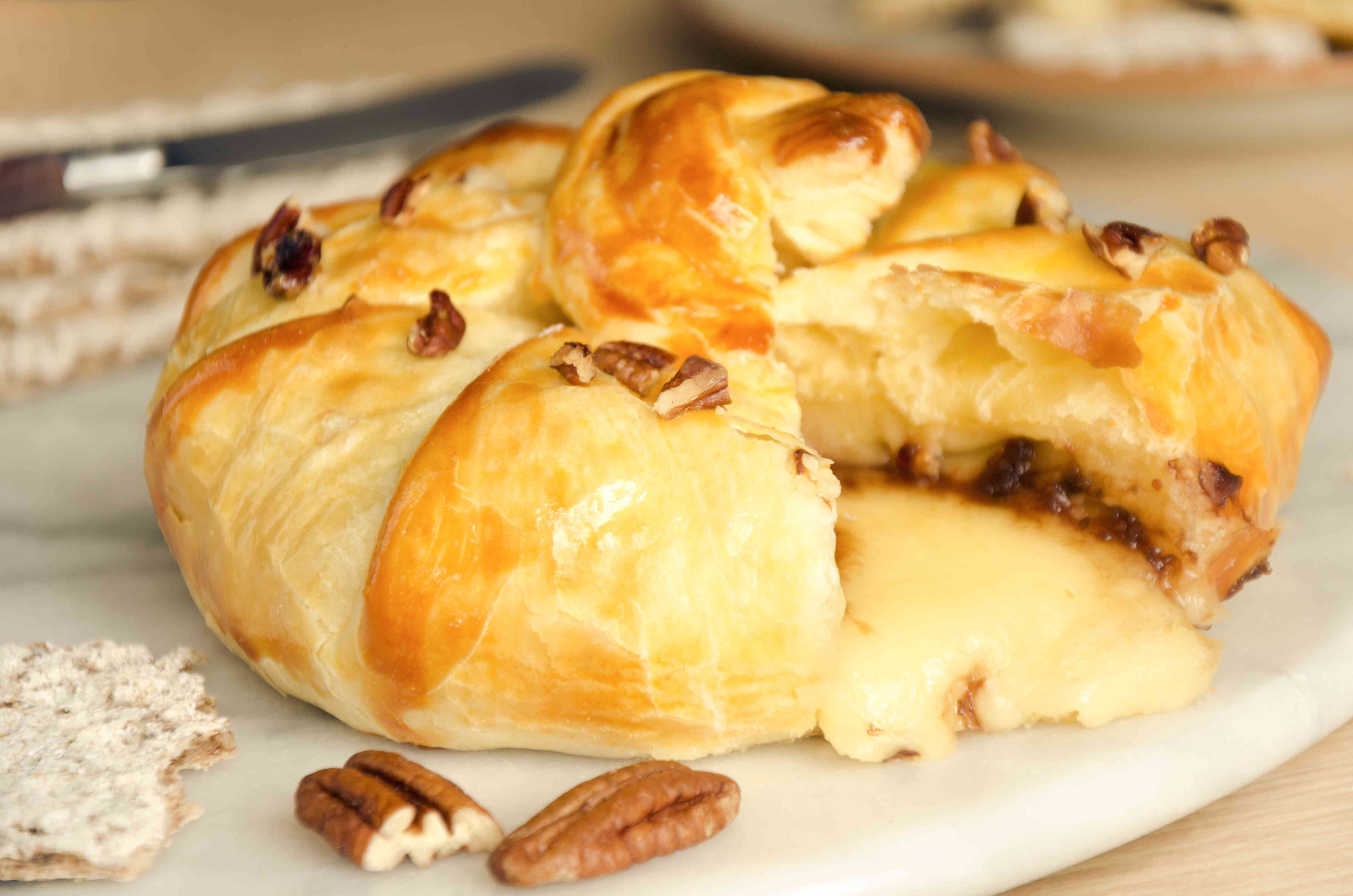 Homemade nutty baked brie