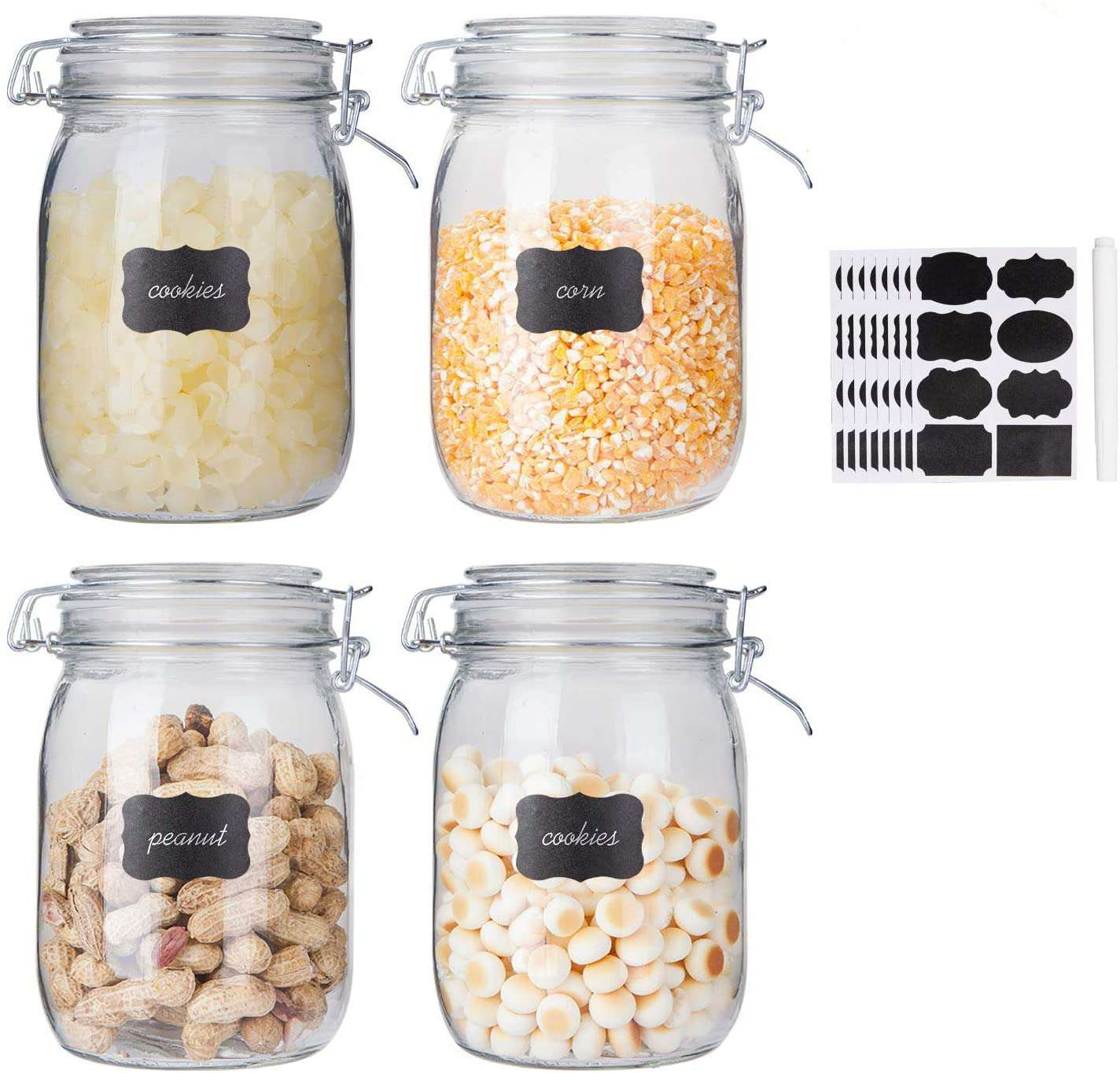 Flrolove Glass Kitchen Storage Canister Mason Jars with Lids