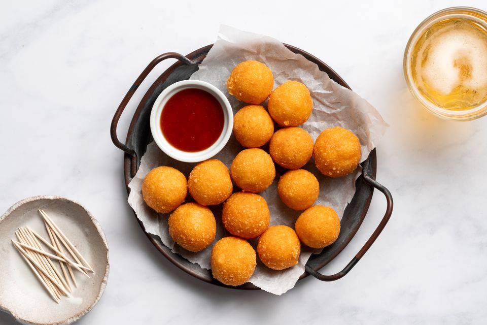 Fried Cheese Balls With Guava Dipping Sauce