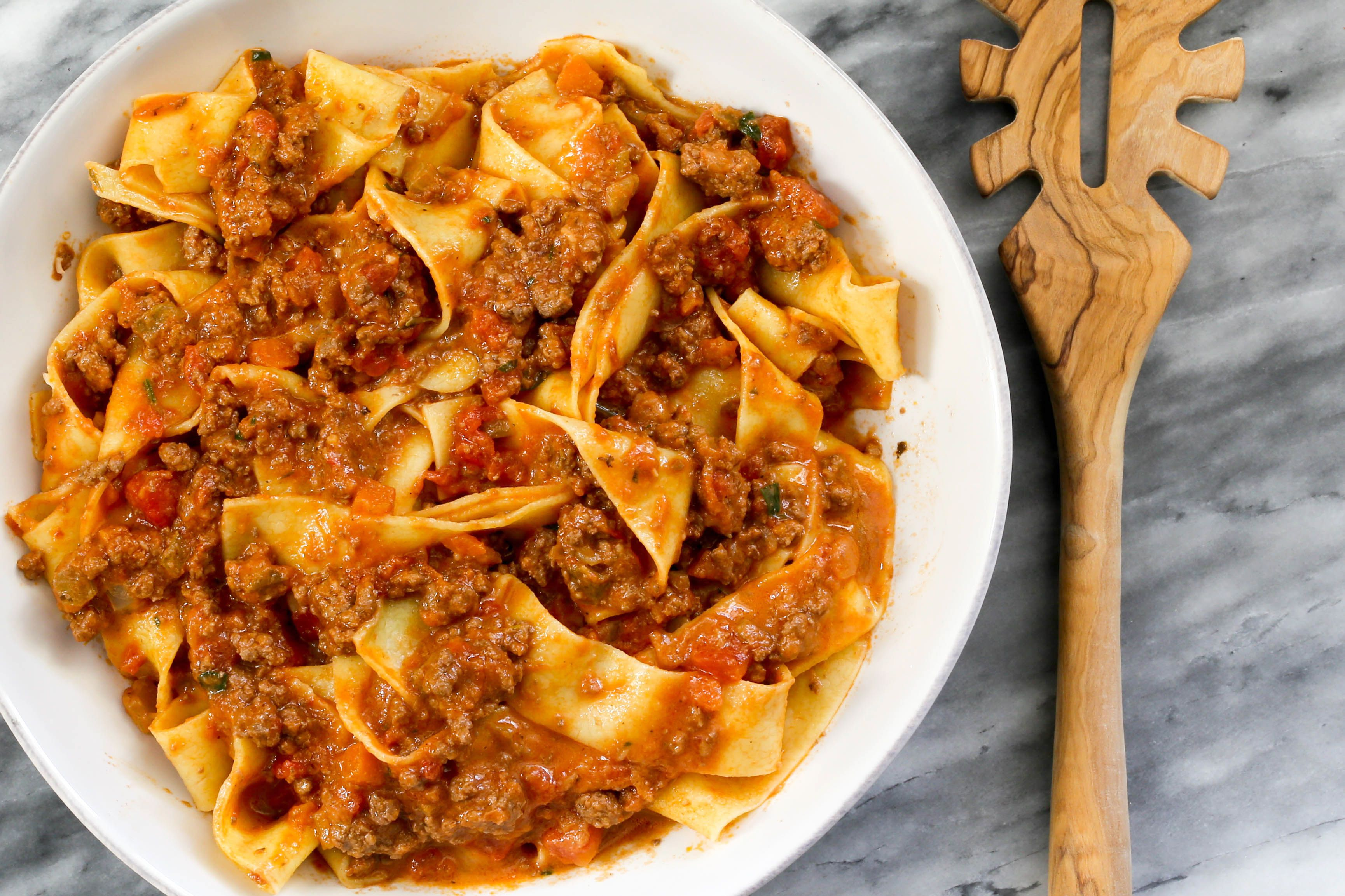 Closeup of Instant Pot Bolognese sauce with pappardelle pasta
