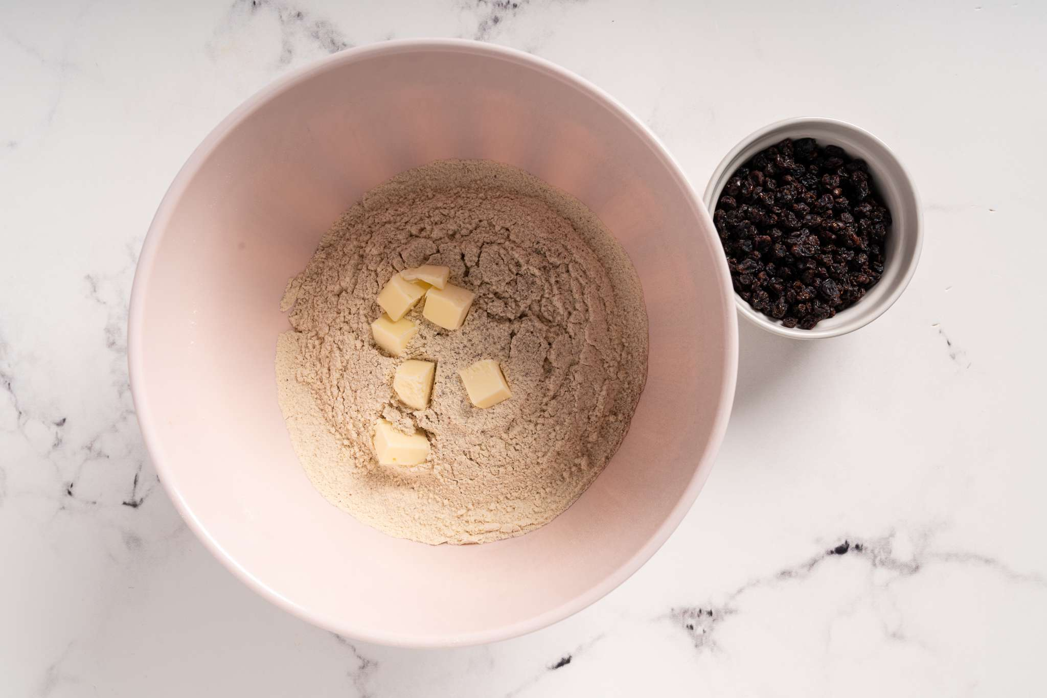 work cold butter substitute into flour mixture and currants in a bowl