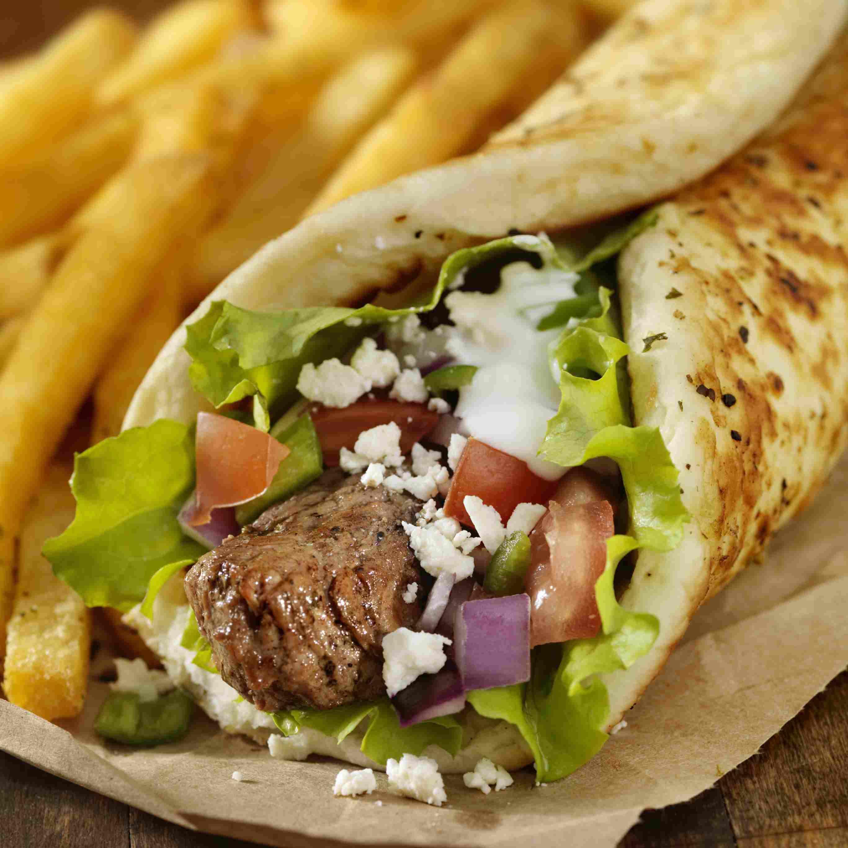 Greek Style Lamb Kabobs with Pita and Tzatziki Sauce