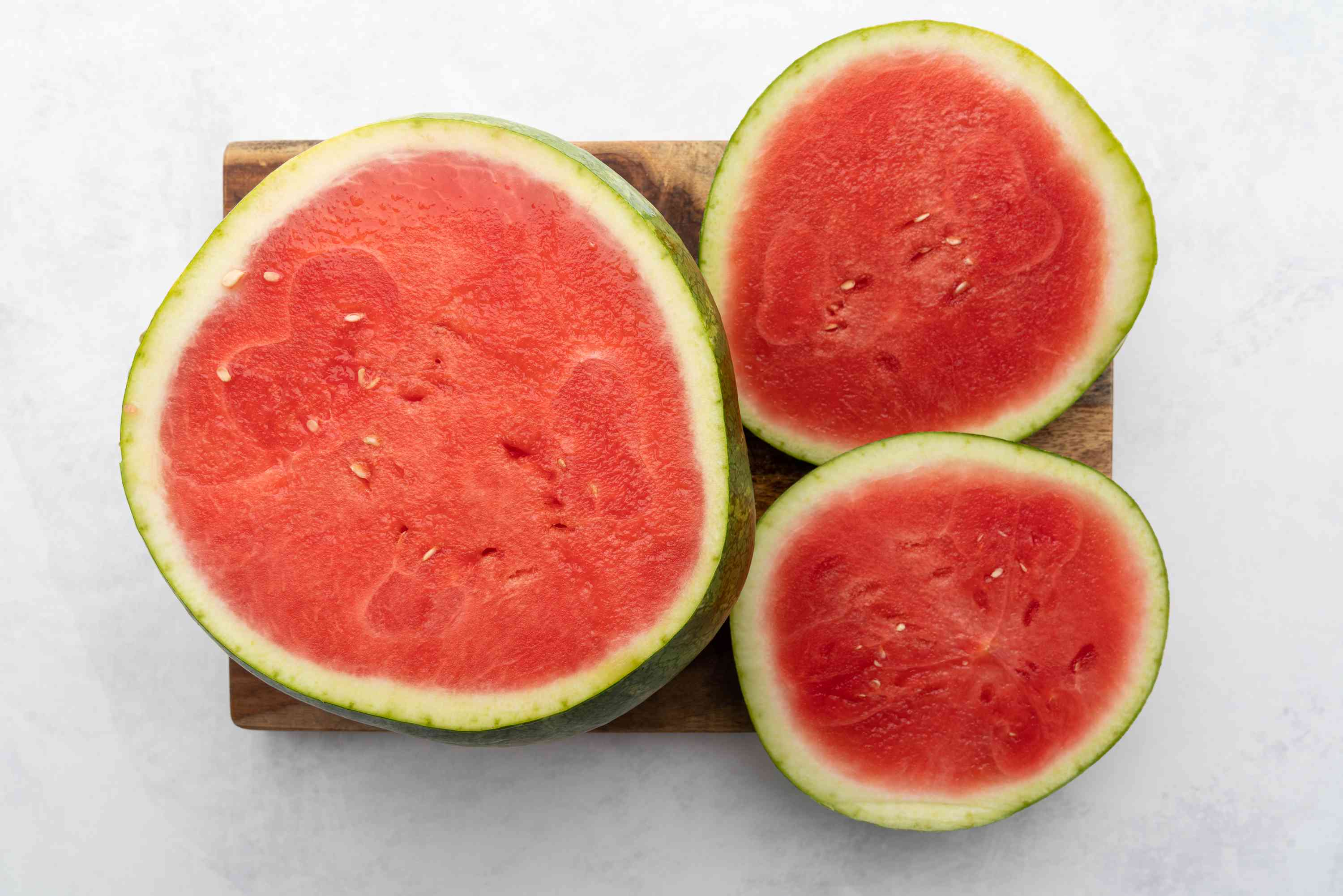 Watermelon with top and bottom sliced off