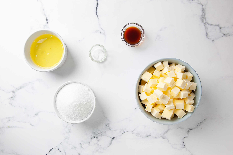 Swiss Meringue Buttercream ingredients