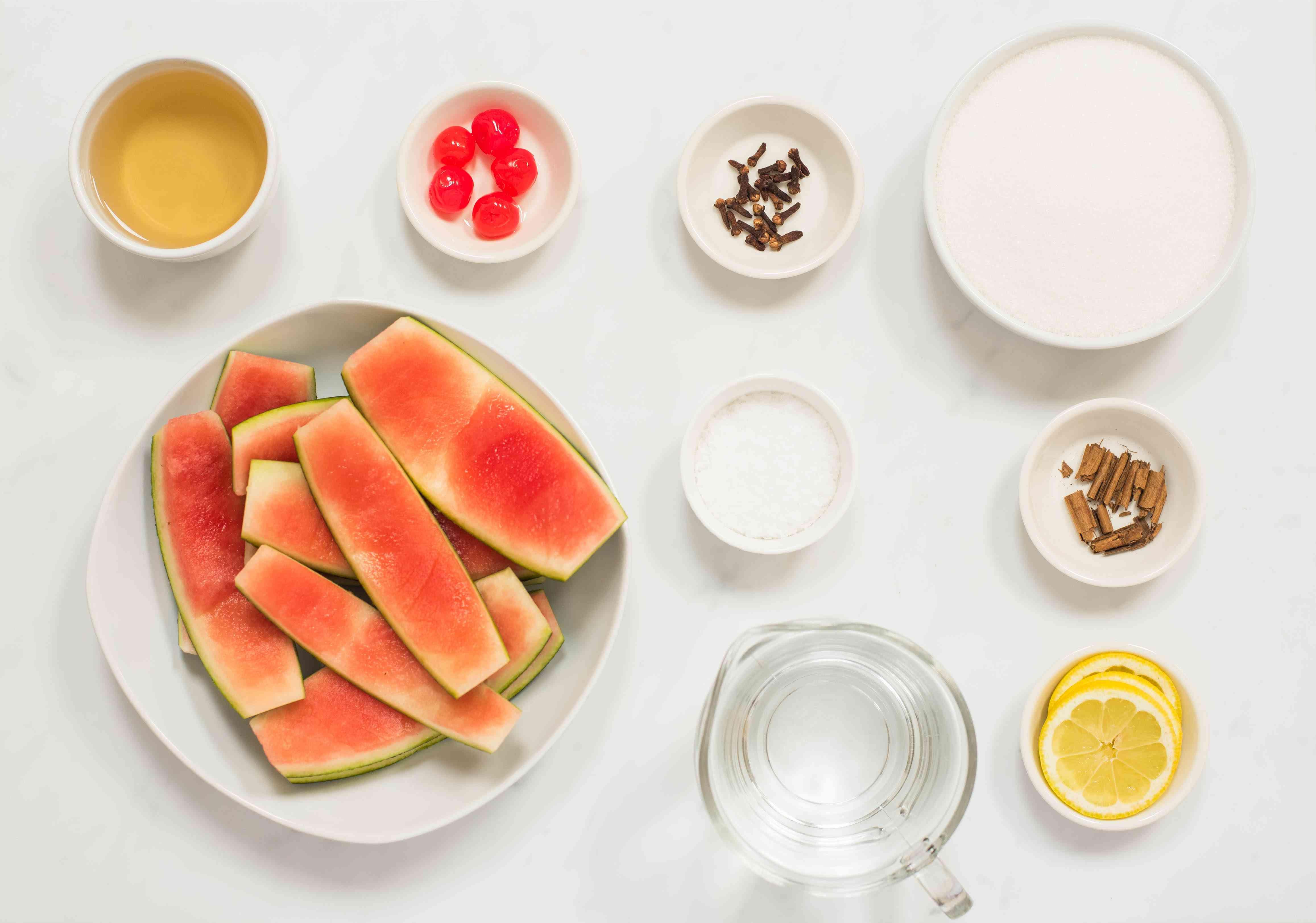 Ingredients for watermelon rind pickles