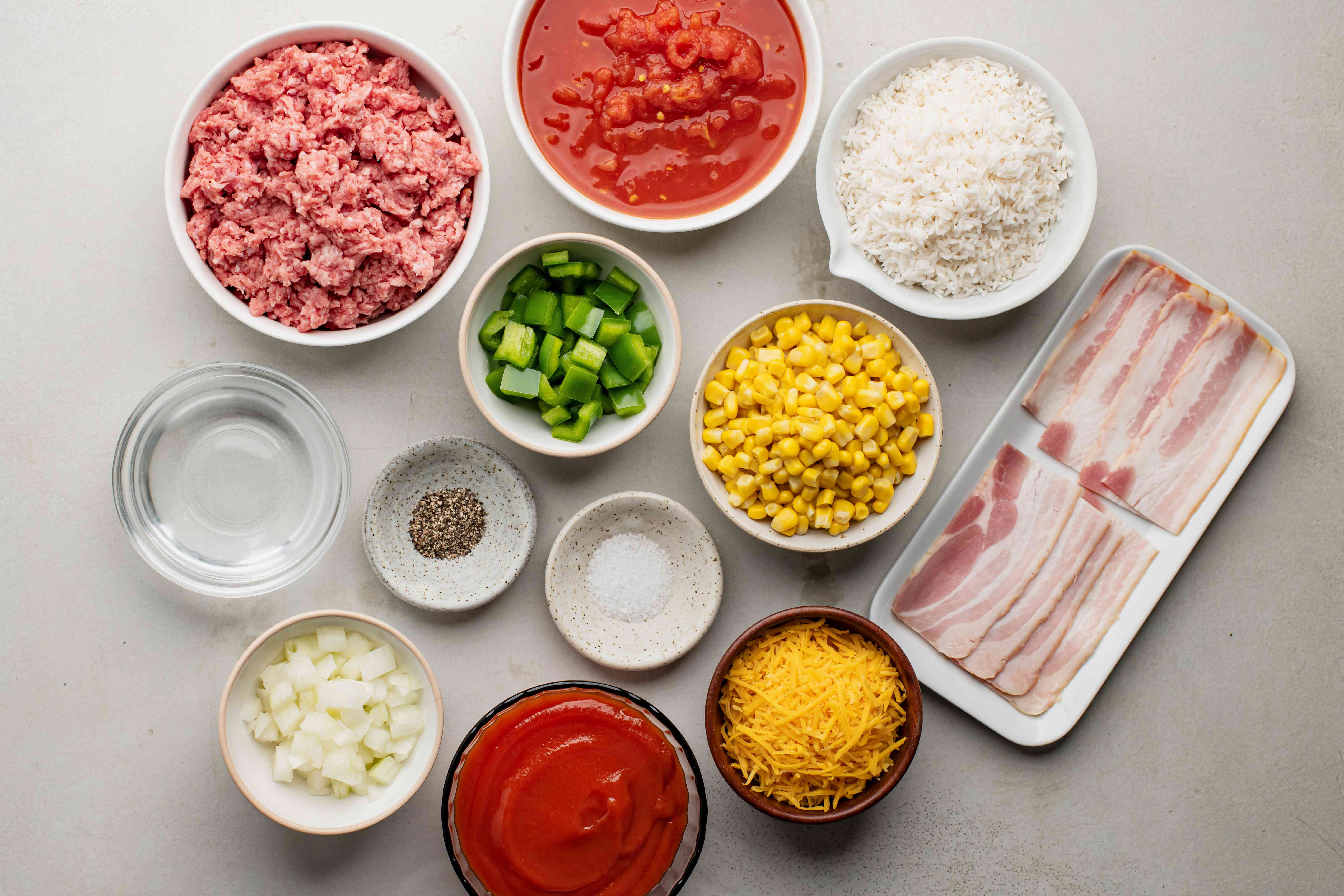 Ingredients for 7-layer casserole with ground beef