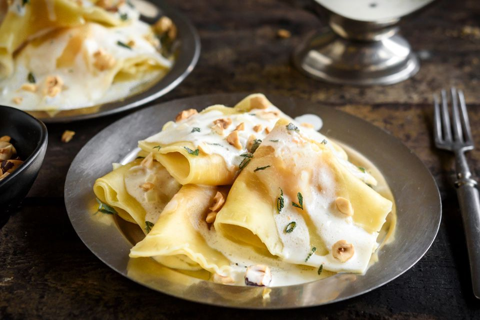 Butternut squash ravioli with white wine sauce