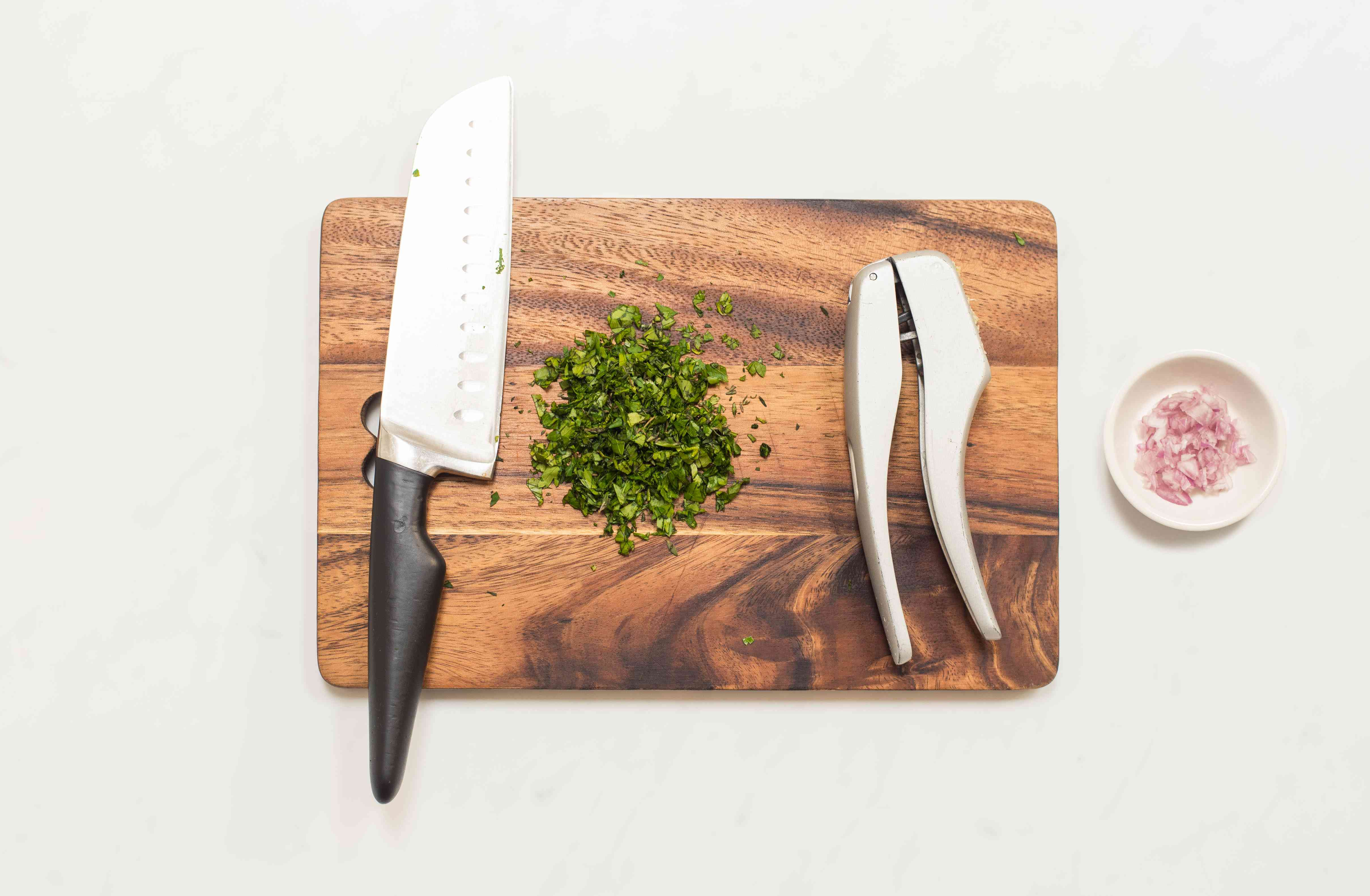 mince parsley, thyme, cilantro