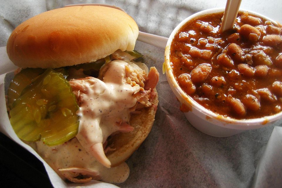 Chicken and White Sauce Sandwich and Beans