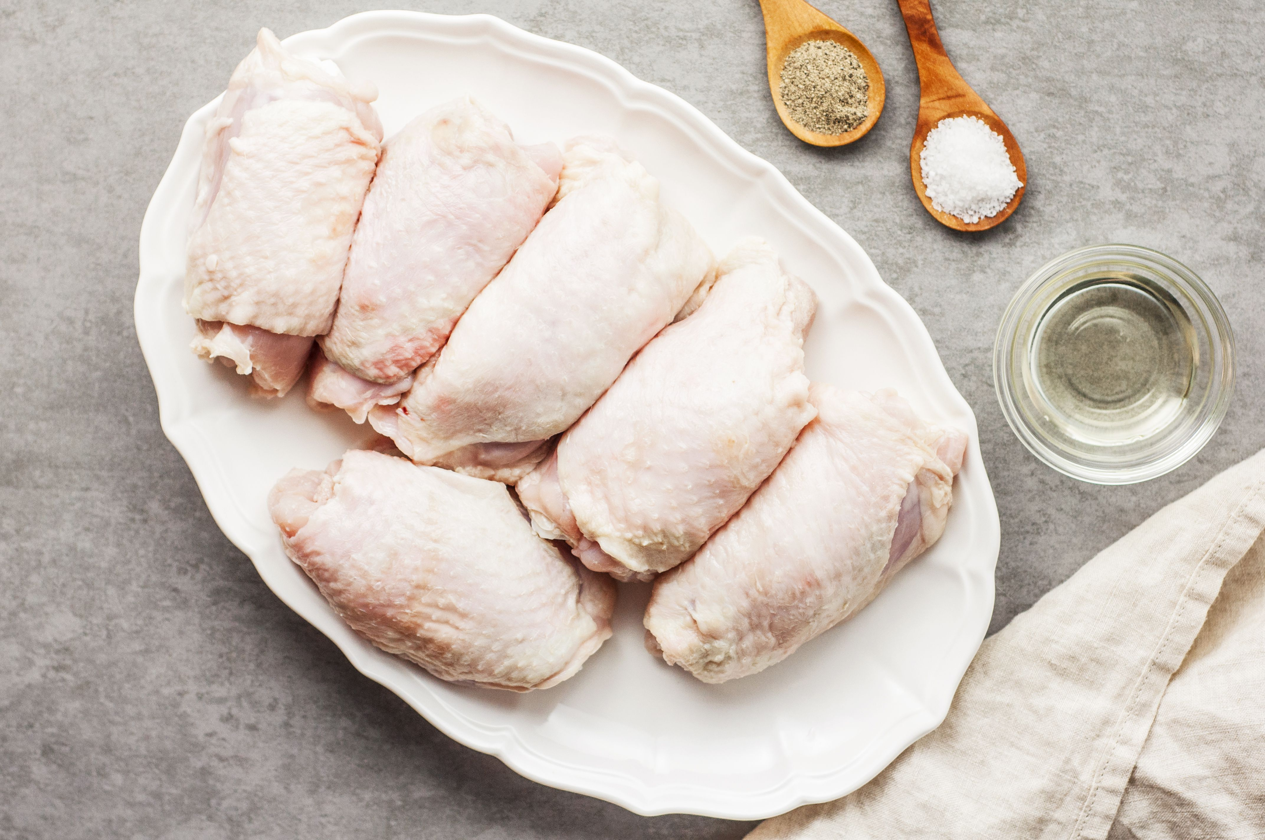 Ingredients for crispy skinned chicken thighs