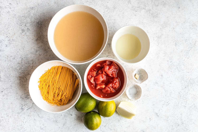 Simple Sopa Aguada (Pasta Soup) ingredients