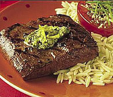 Spicy Lemon Pesto Flat Iron Steaks