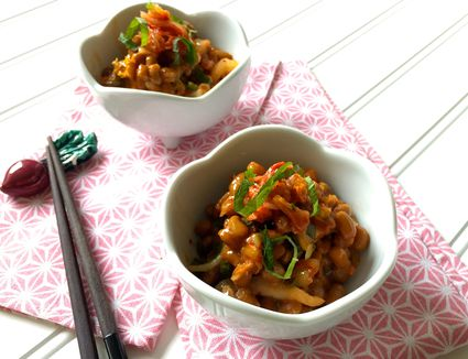Kimchi Natto Ae (Fermented Soy Beans with Spicy Kimchi Pickles)