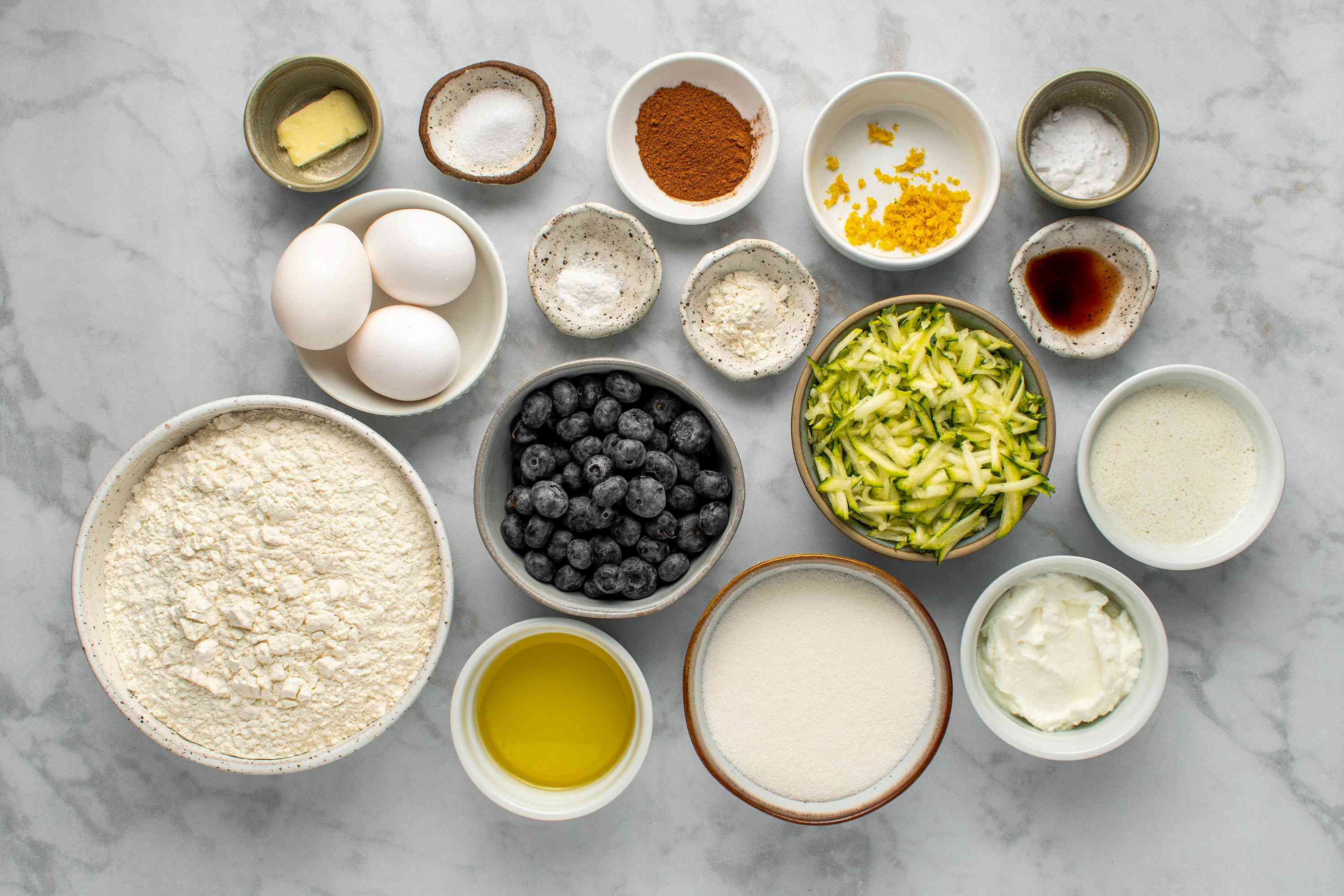 Blueberry and Zucchini Quick Bread ingredients