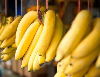 Bananas on display at a market