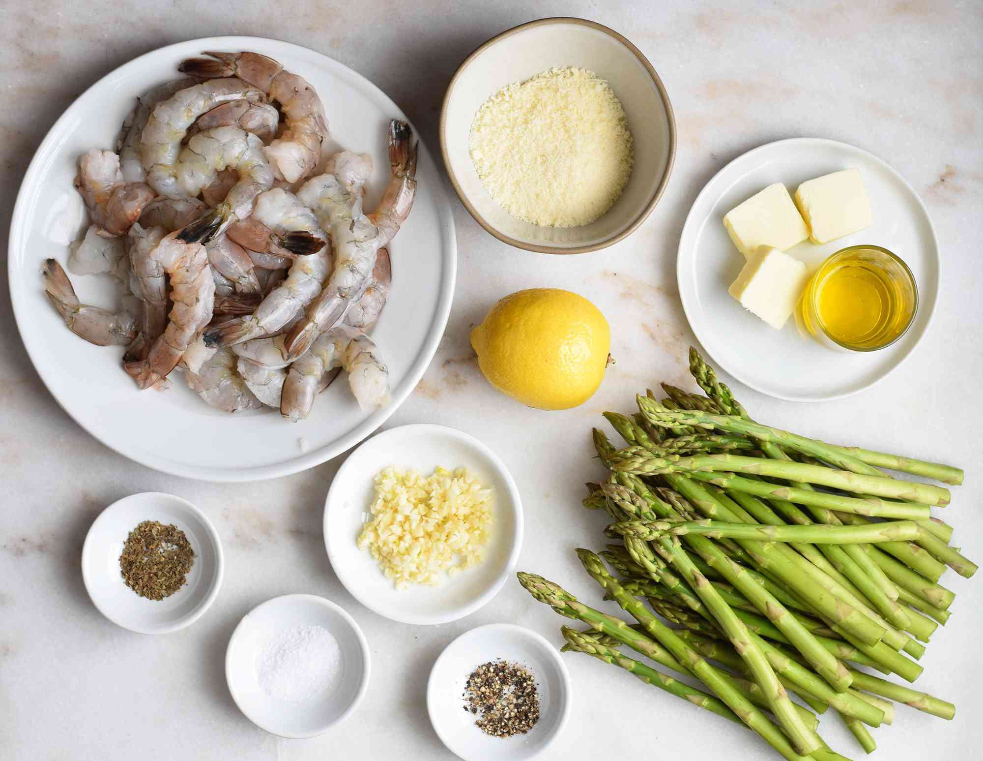 ingredients for one pan shrimp and asparagus