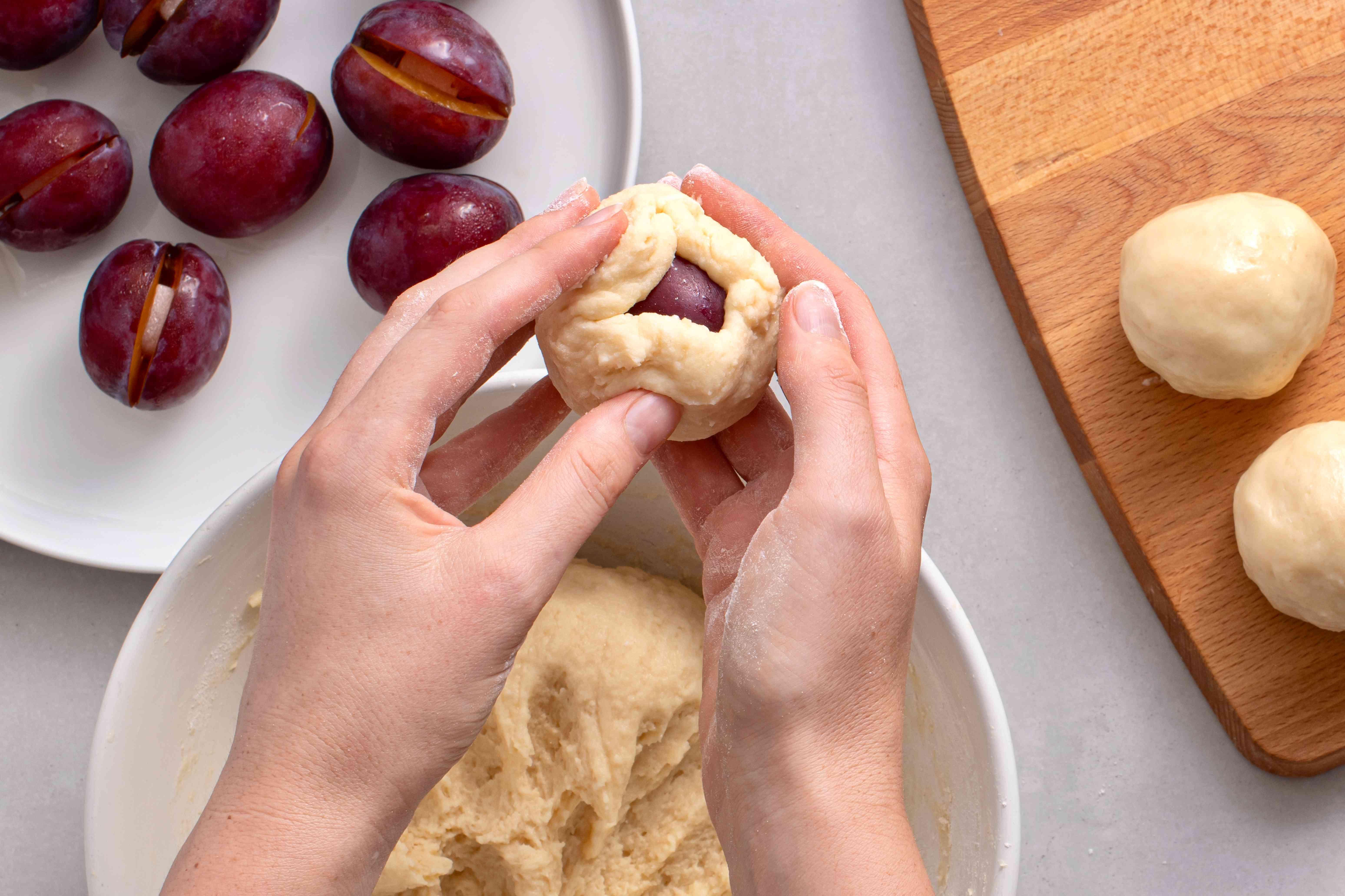 dough wrapped around plum