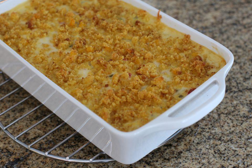 Pea casserole with cornbread crumb topping
