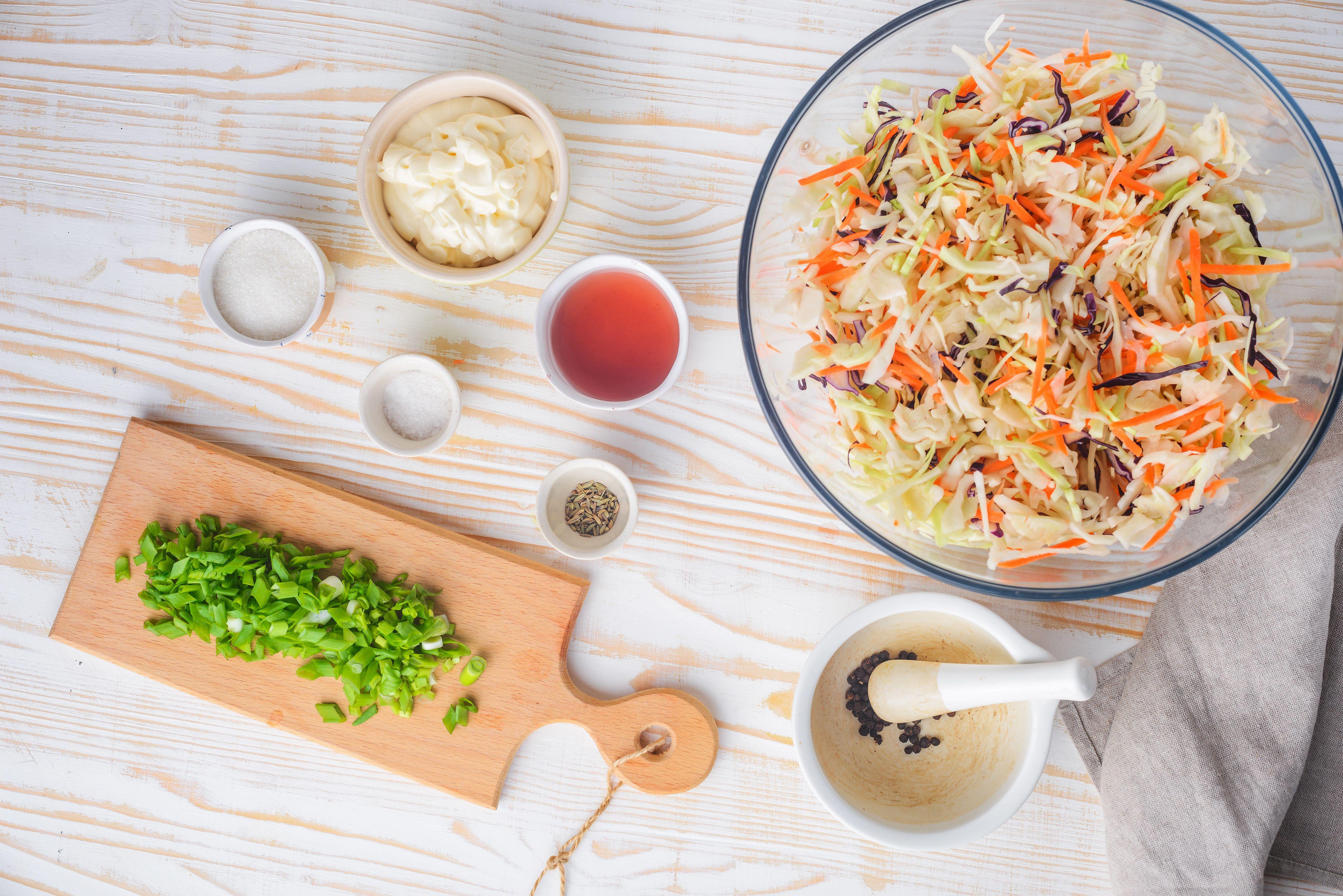 Ingredients for creamy coleslaw