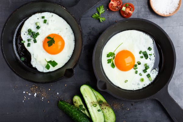 Fried eggs in cast iron pan