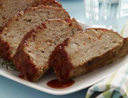A plate of sliced meatloaf