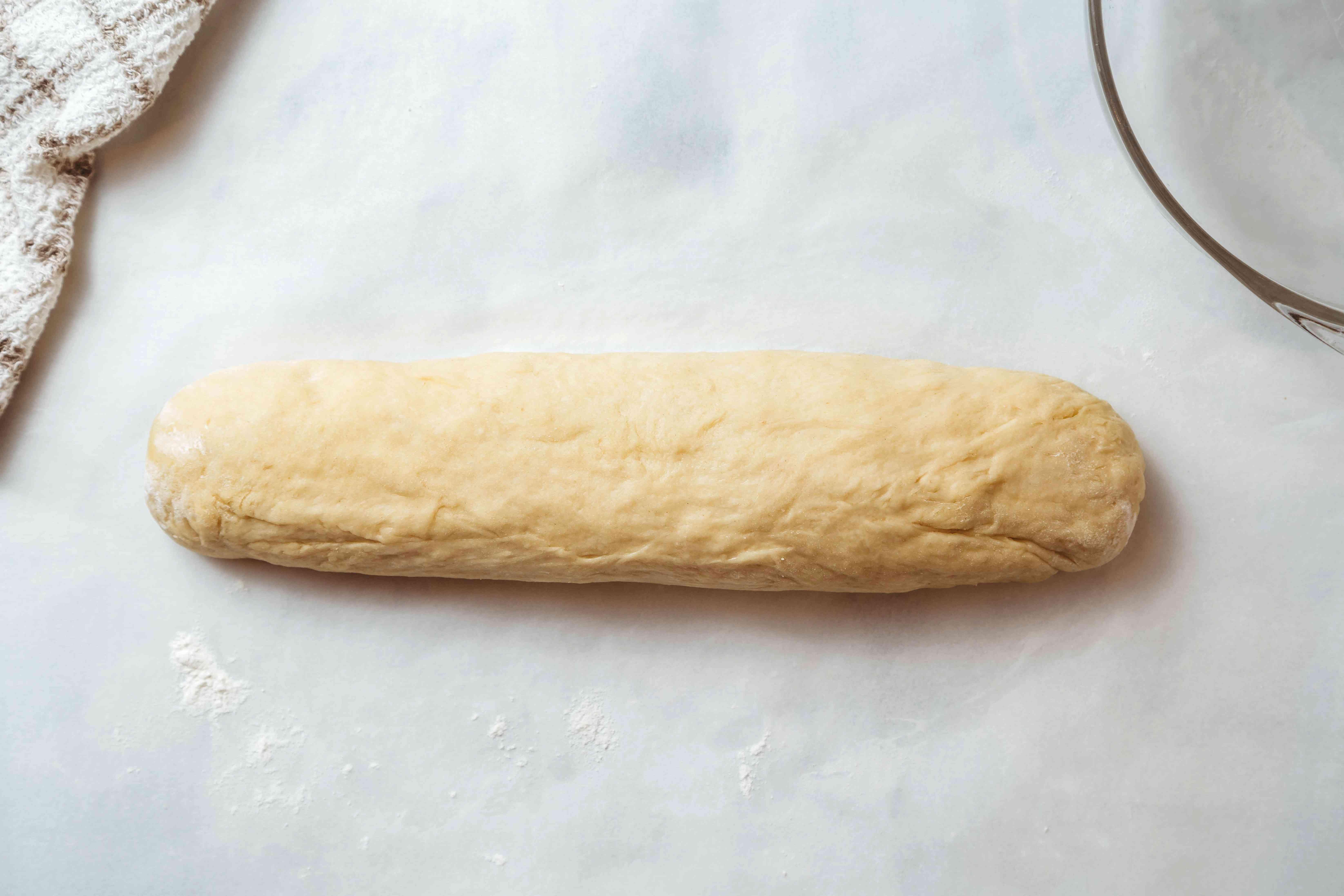 dough shaped into a log