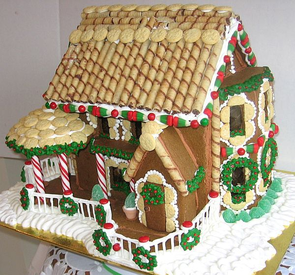 Side view of a Victorian gingerbread house