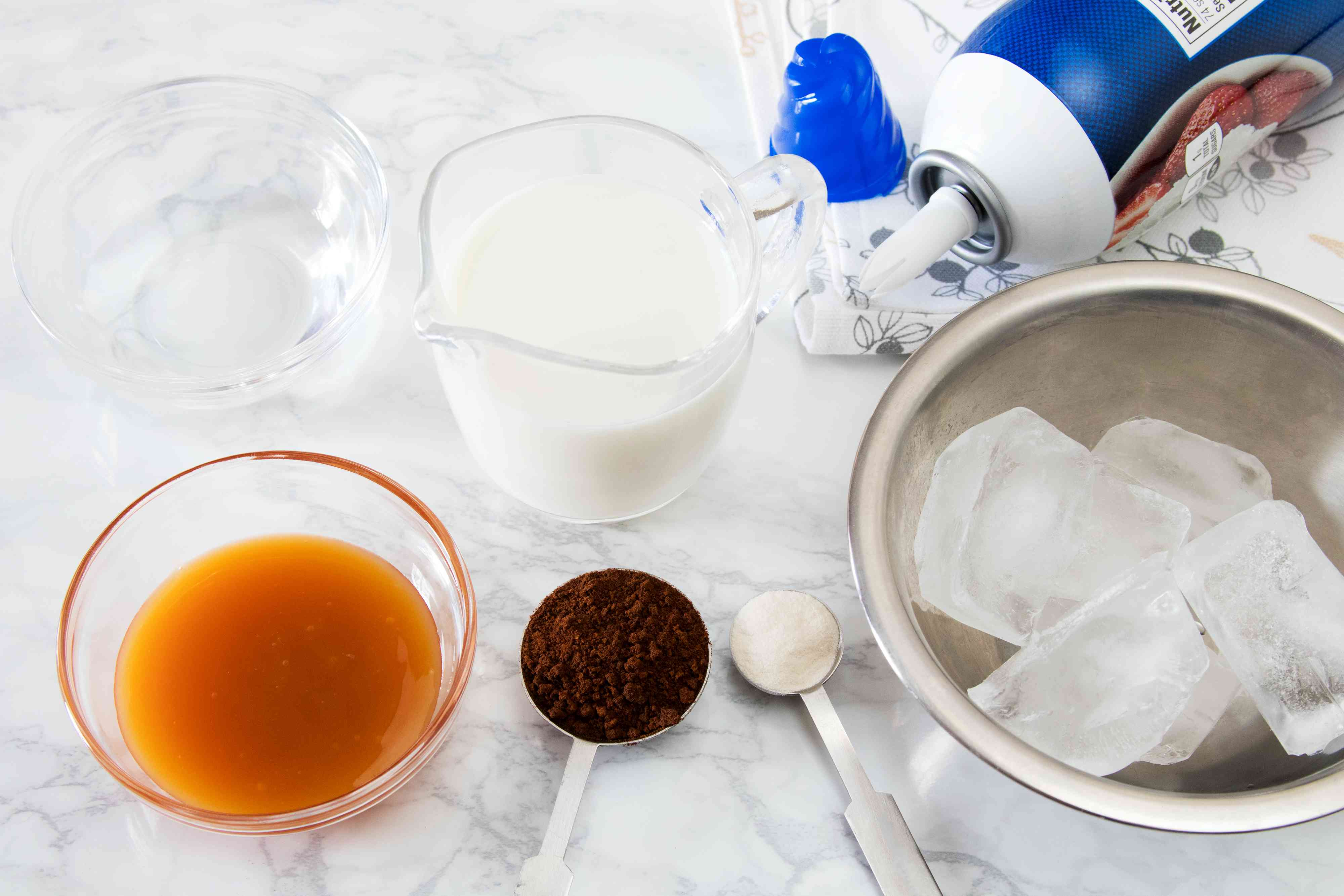 Ingredients for a Copycat Starbucks Caramel Frappuccino