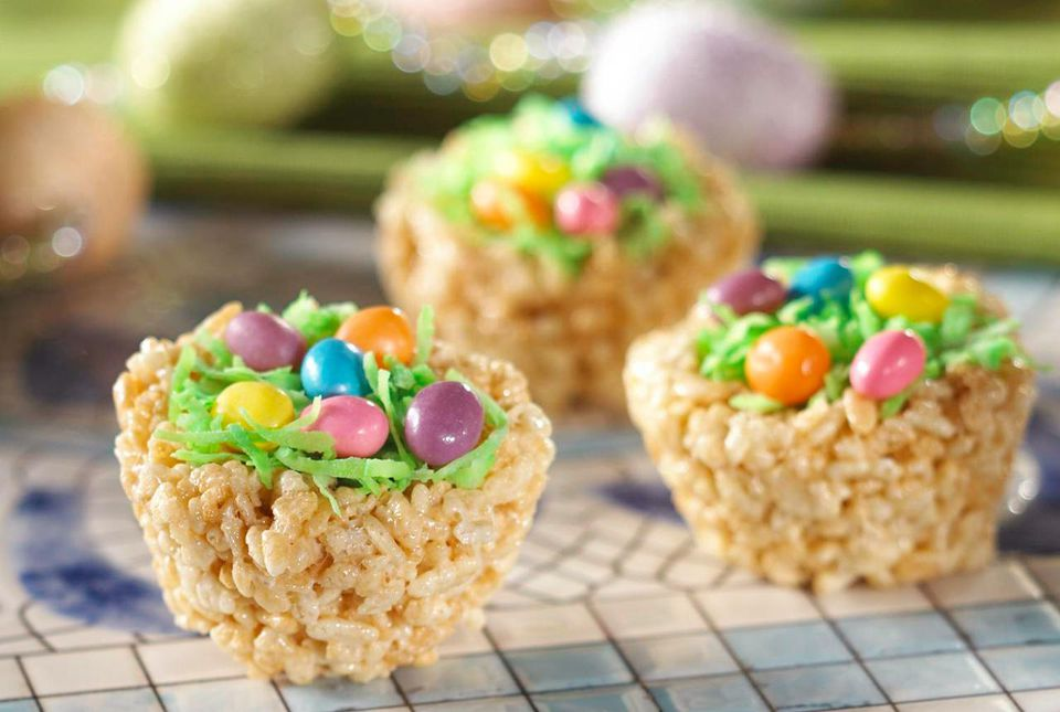 Easter rice crispy treats on countertop.