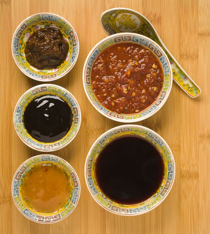 Chilli sauce, soy sauce, oyster sauce and sesame oil