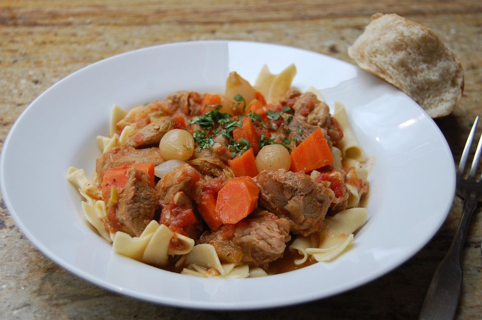 Veal Stew with Egg Noodles