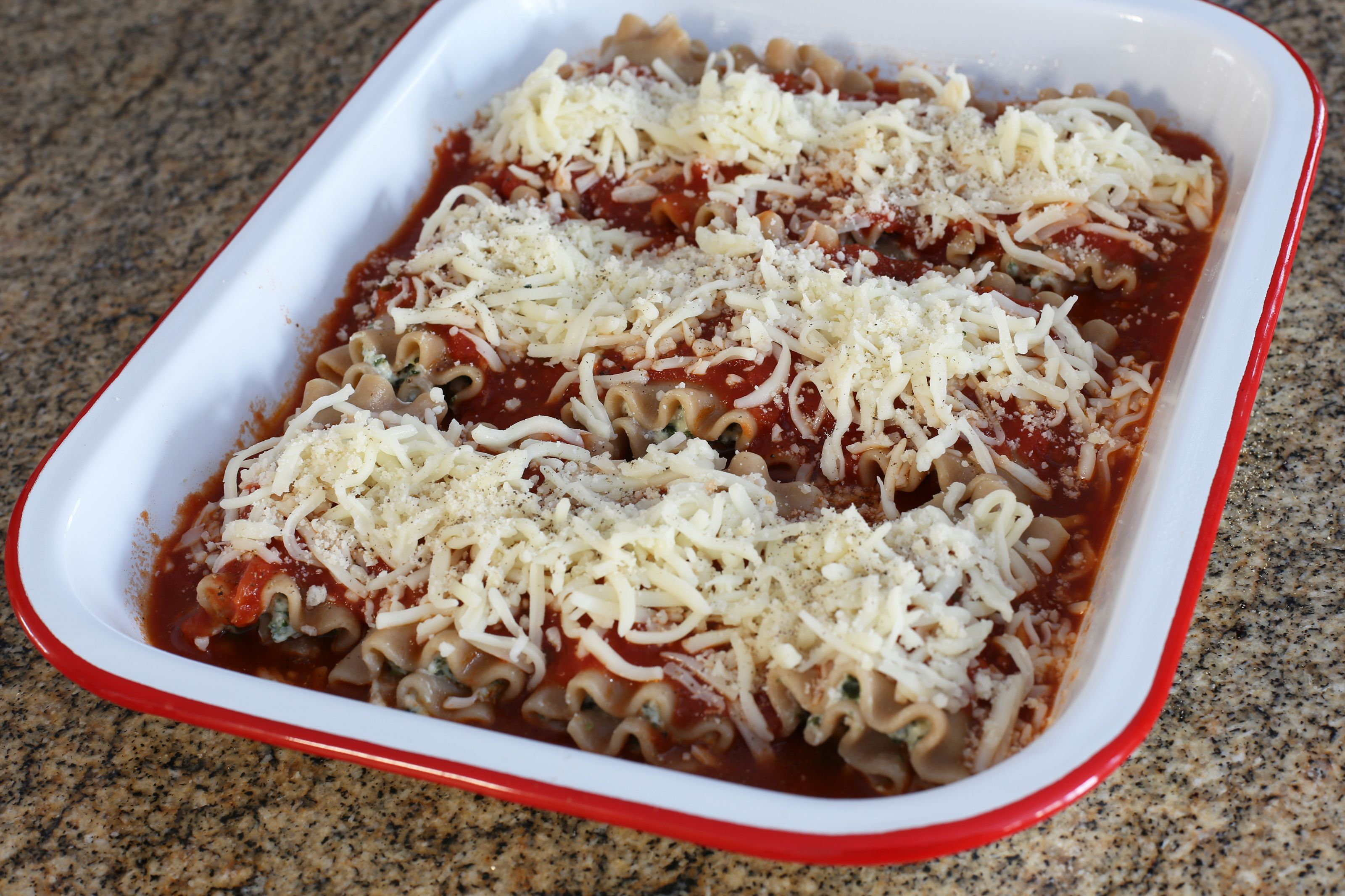 Lasagna Rolls With Sauce and Cheese