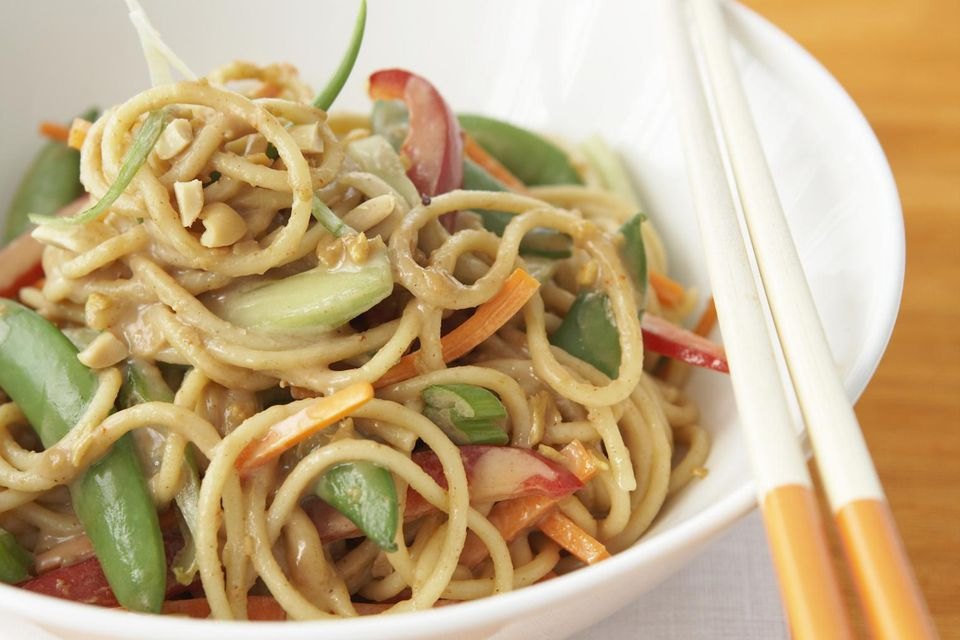Chinese noodles in peanut sauce