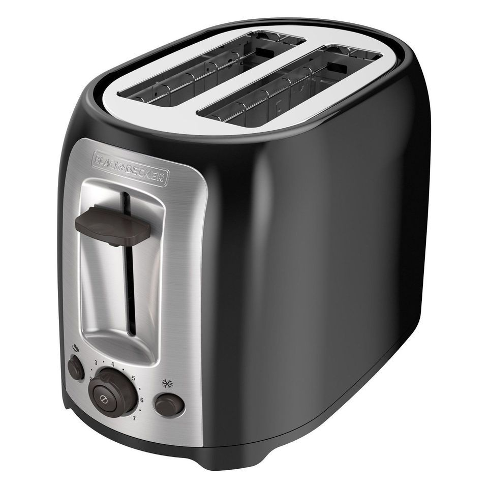 BLACK+DECKER TR1278B 2-Slice Toaster, Bagel Toaster, Black