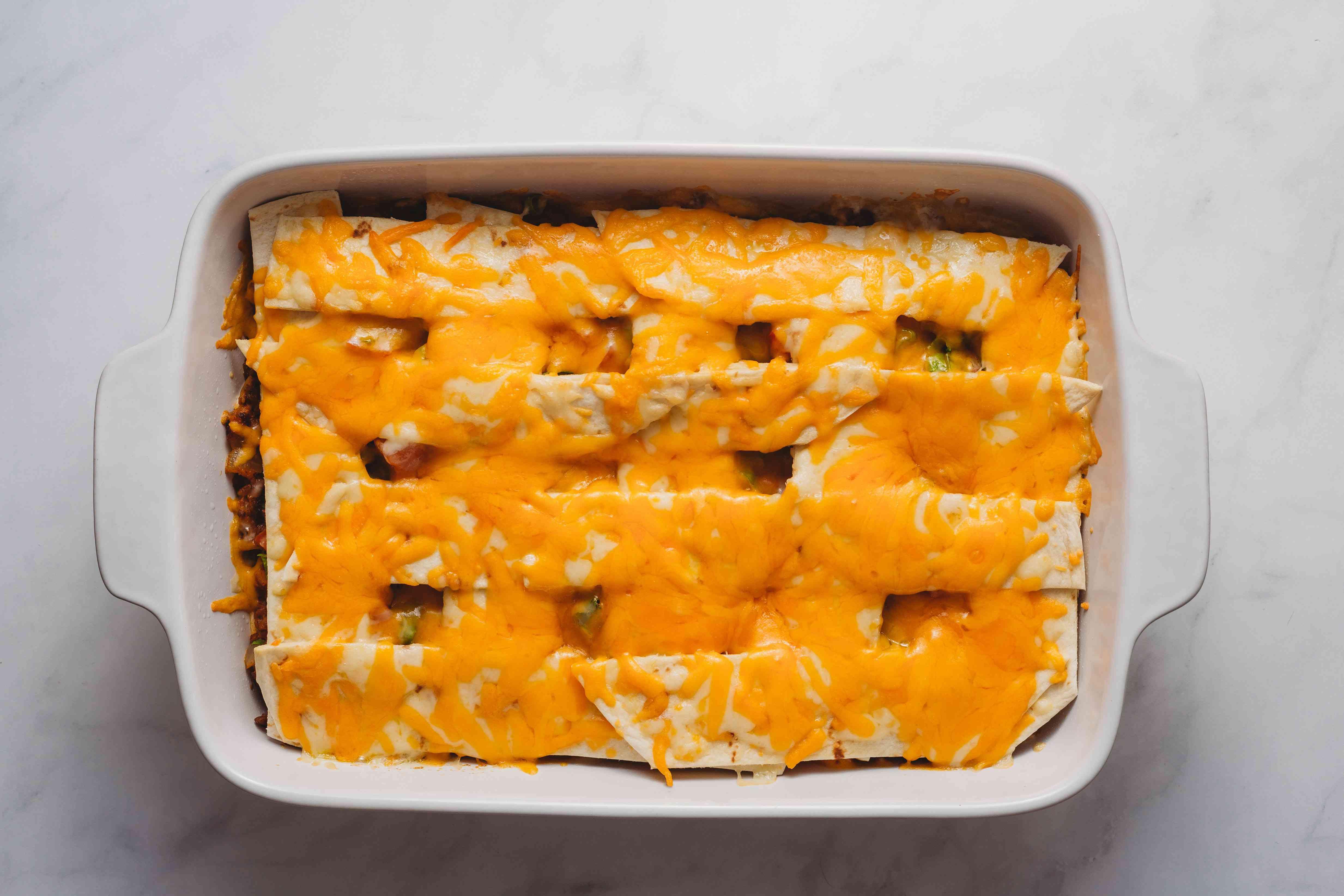 Easy Burrito Casserole in a baking dish