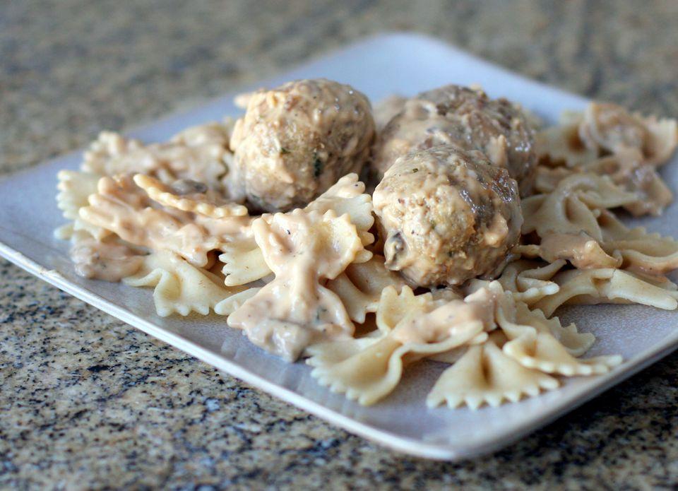 Swedish meatballs on farfalle pasta