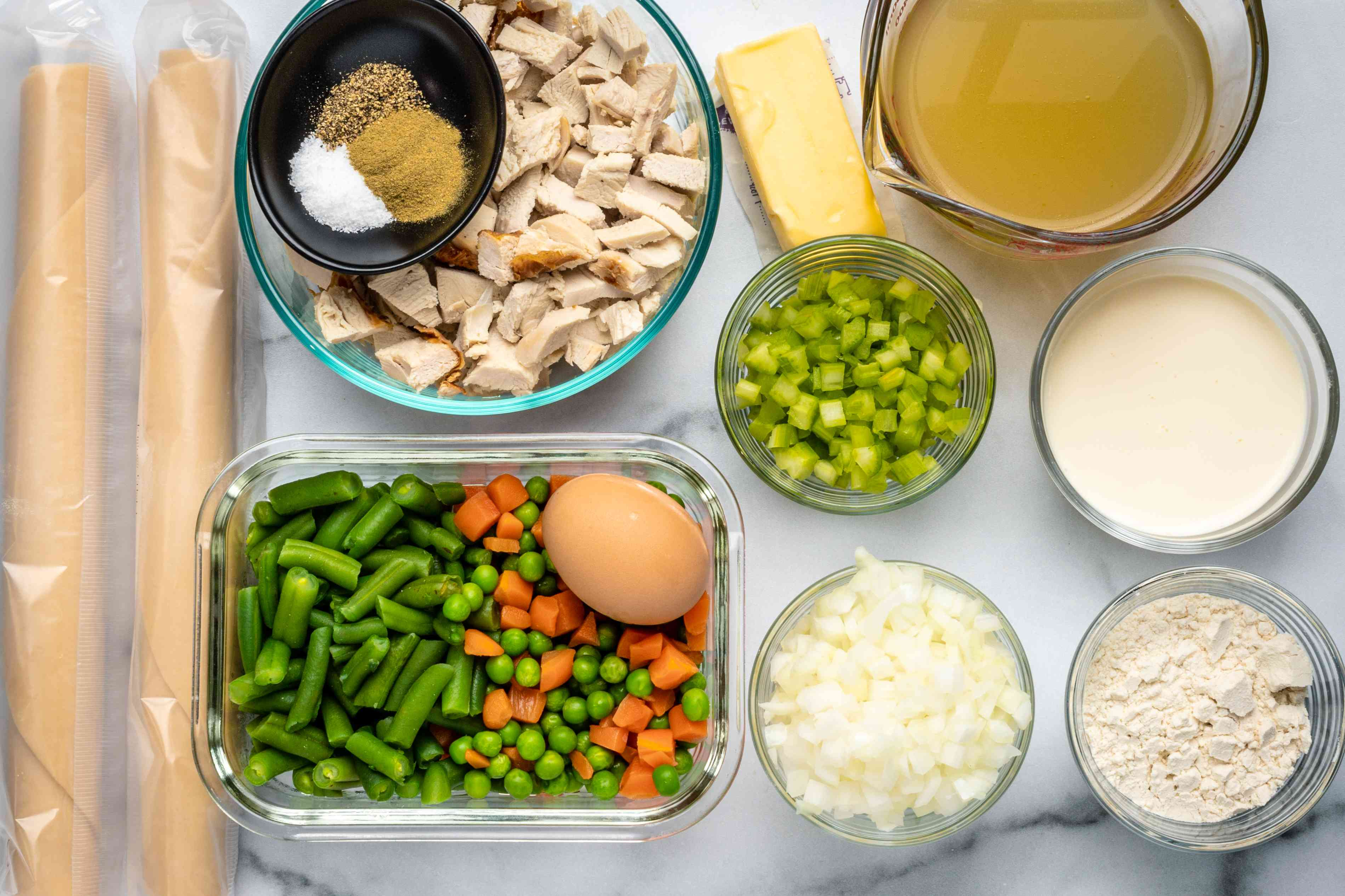 ingredients for an easy turkey pot pie with leftover turkey