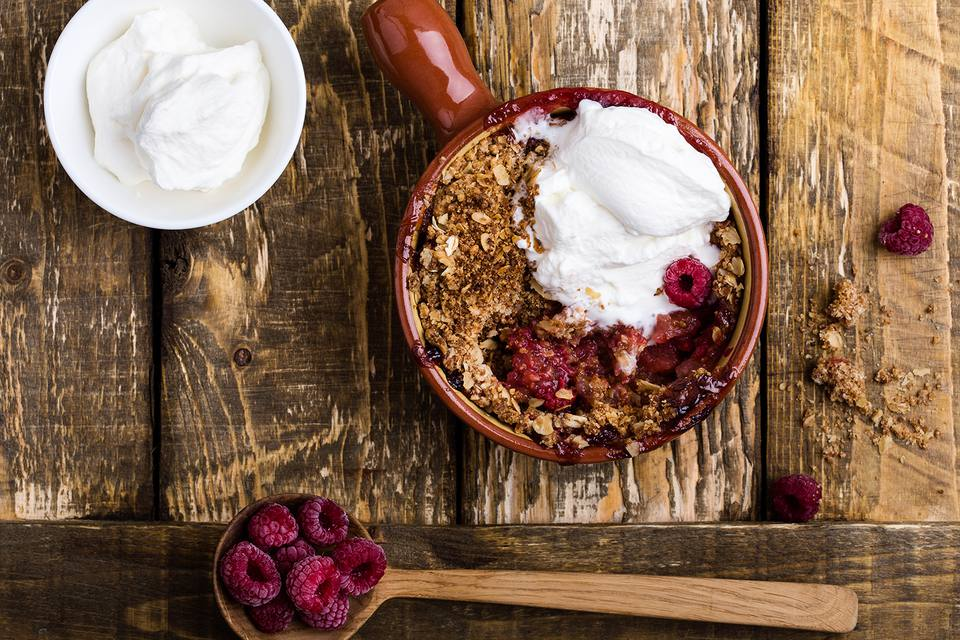 Traditional British Dishes. Berry crumble with rolled oats