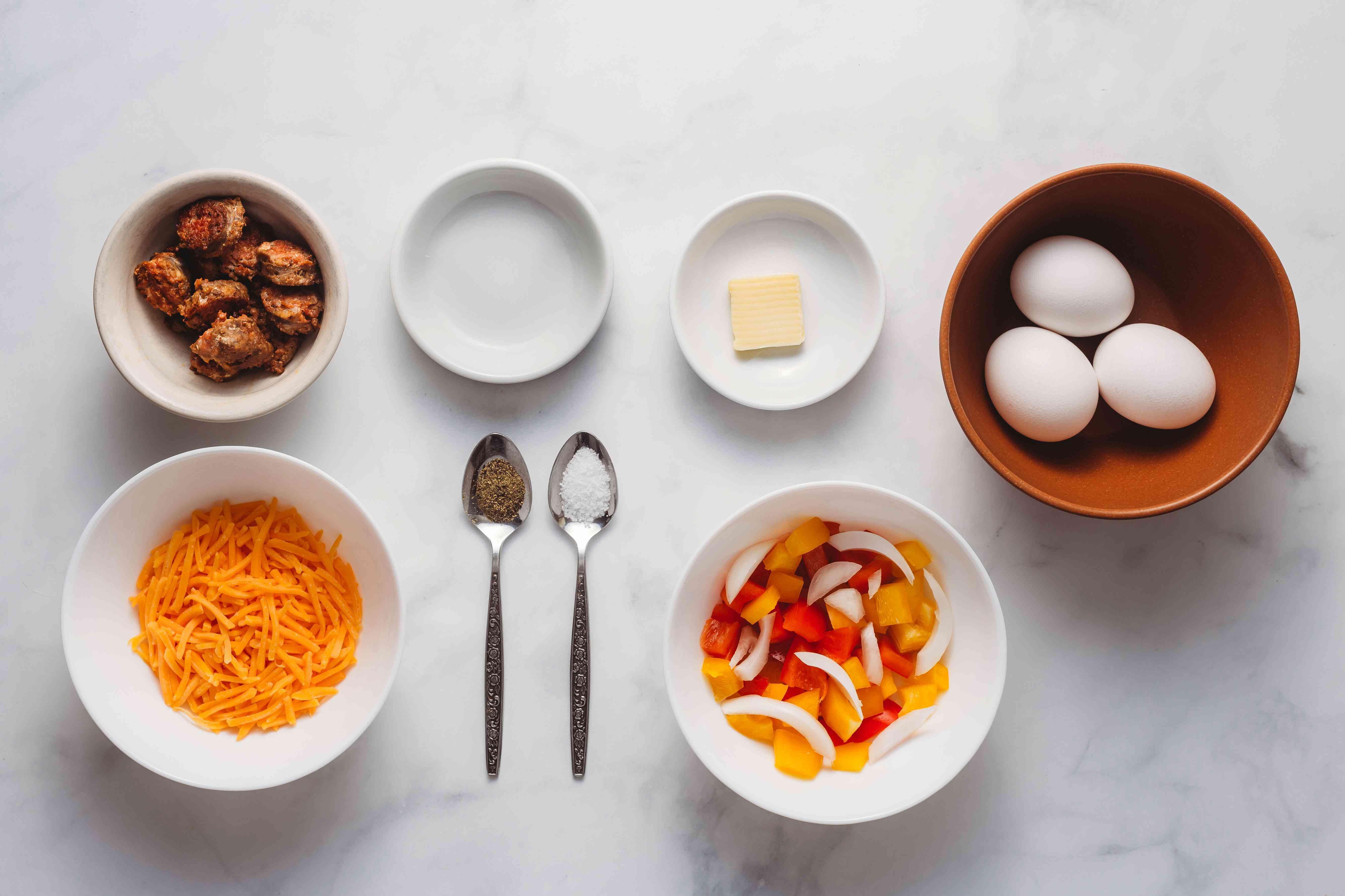 Ingredients for omelet for kids