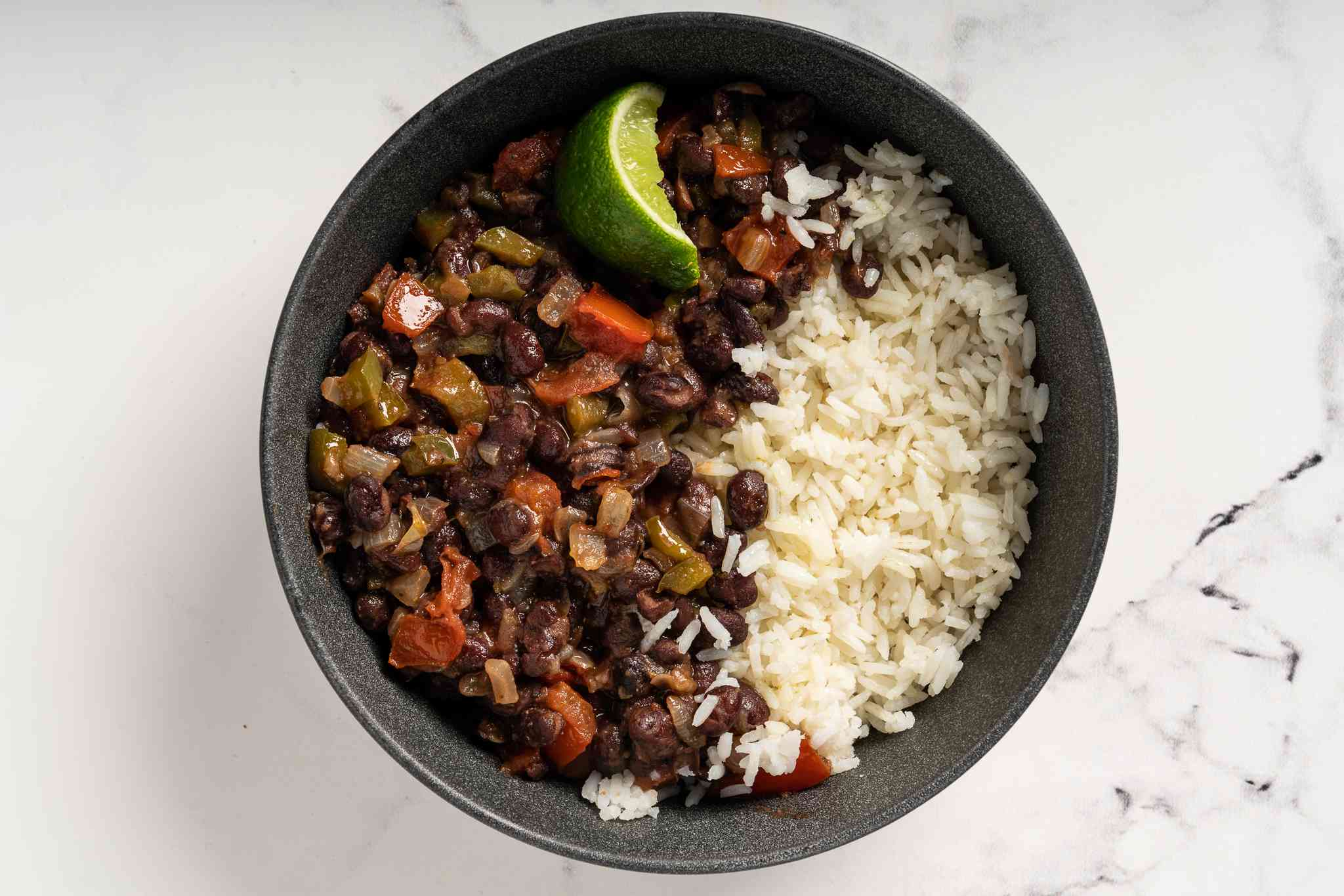 Basic Vegetarian Black Beans and Rice in a bowl