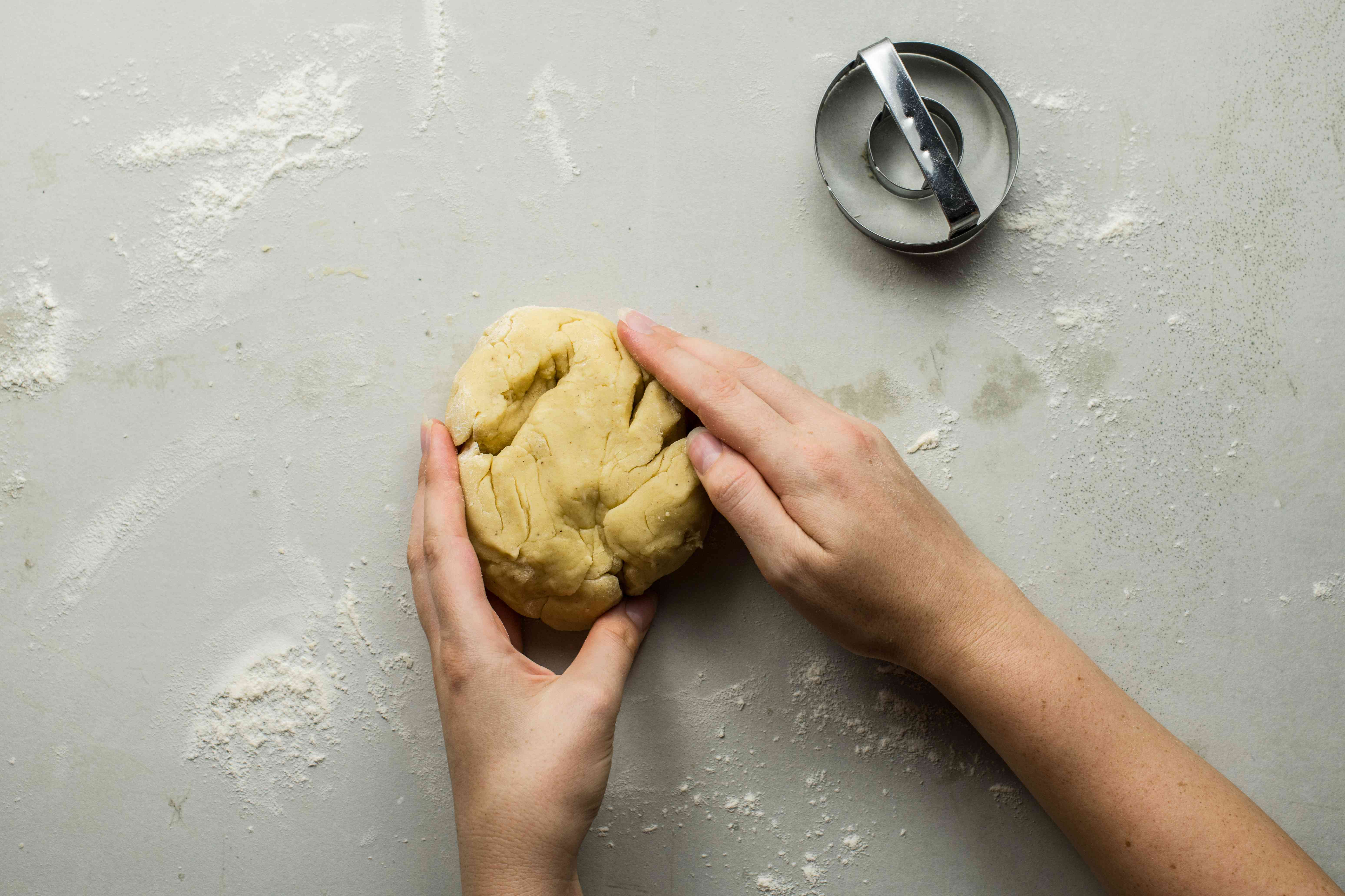 Gently knead dough